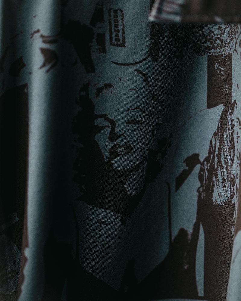 ciao|Monroe Open Collar Shirt・Grey