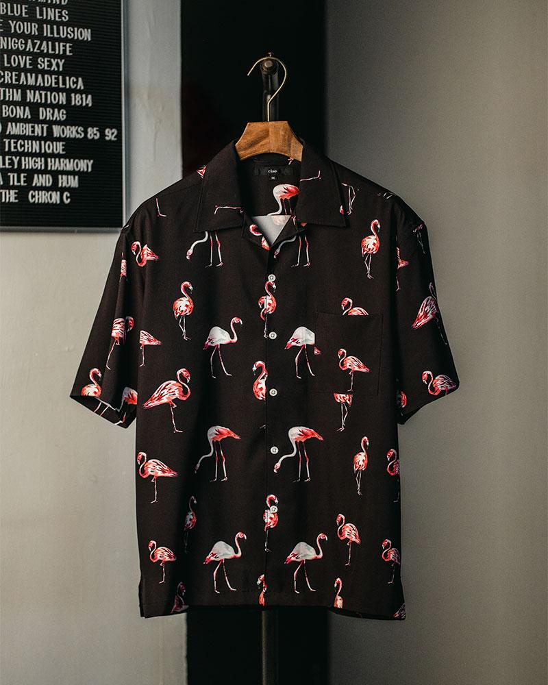 ciao|Flamingo Open Collar Shirt・Black