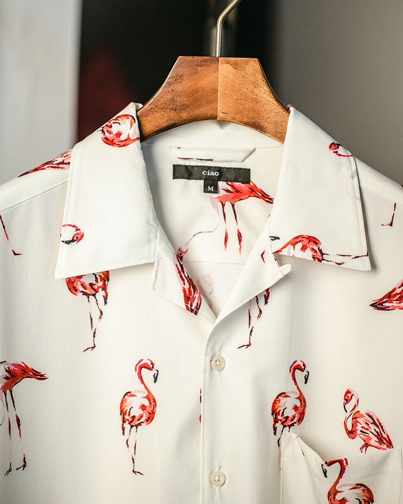 ciao Flamingo Open Collar Shirt・Off White