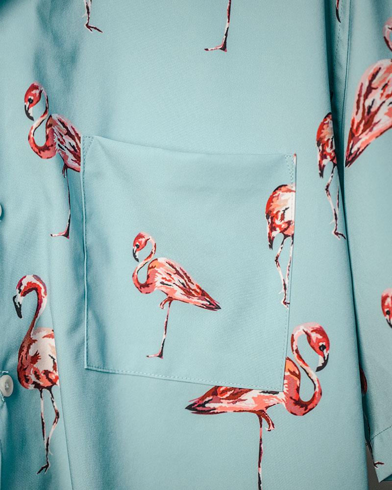 ciao|Flamingo Open Collar Shirt・Sax