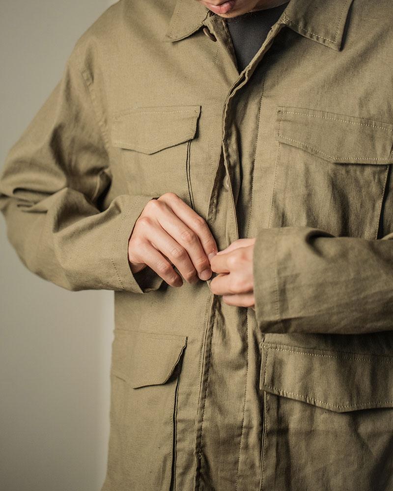 HALHAM|Cotton-Linen Military Shirt Jacket・Khaki