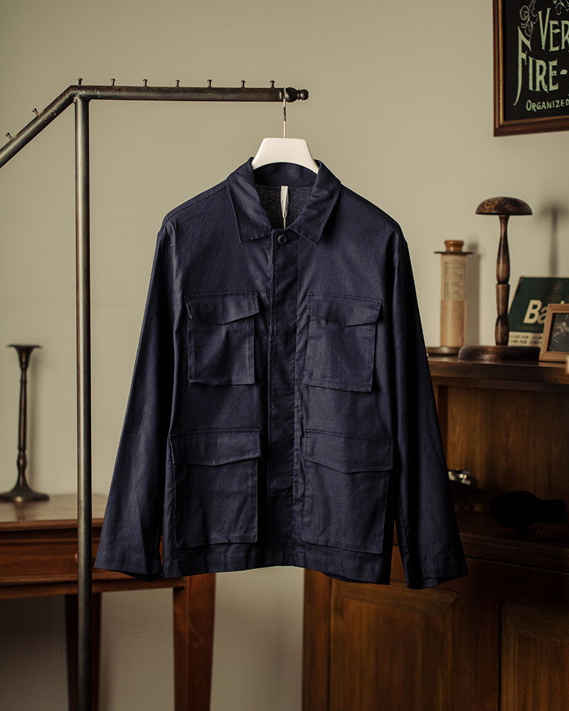 HALHAM|Cotton-Linen Military Shirt Jacket・Navy