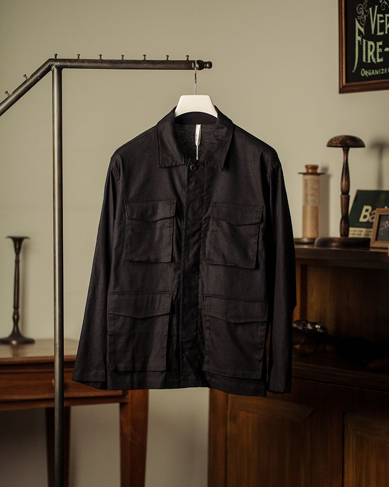 HALHAM|Cotton-Linen Military Shirt Jacket・Black