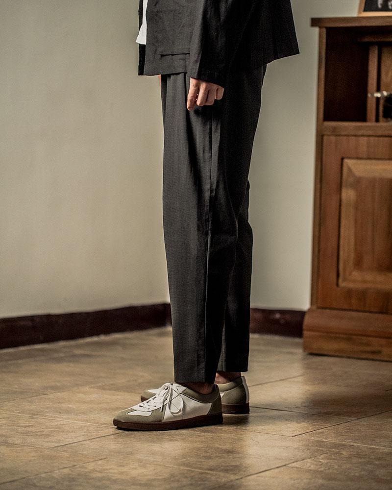 HALHAM|Easy Wide Tapered Pants・Black