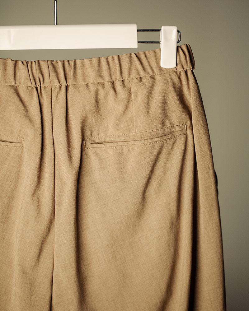 HALHAM|Easy Wide Tapered Pants・Beige
