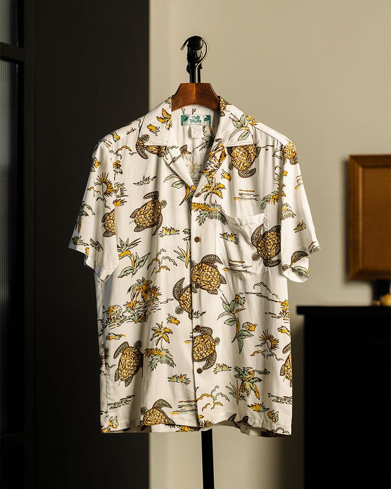 Two Palms|Turtles Aloha Shirt・White