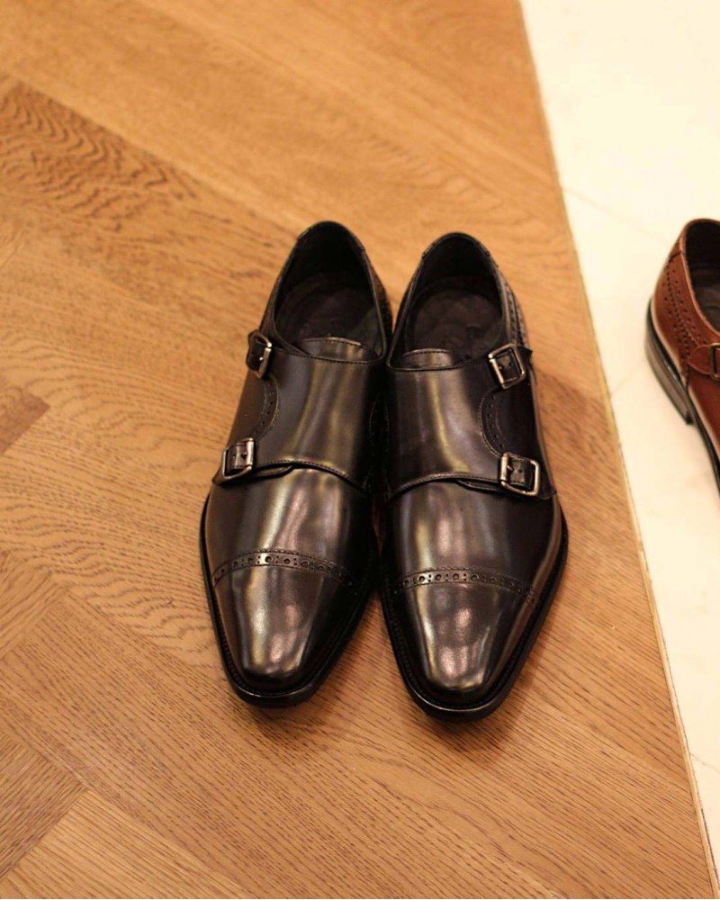 Calzoleria Toscana 3622 Double Monk Strap Shoes.Black