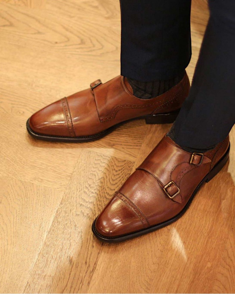 Calzoleria Toscana 3622 Double Monk Strap Shoes.Moka