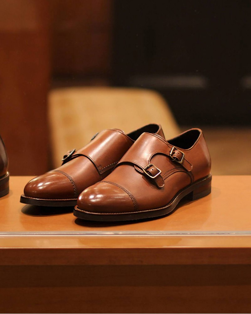 Calzoleria Toscana|5645 Double Monk Strap Shoes・Tan