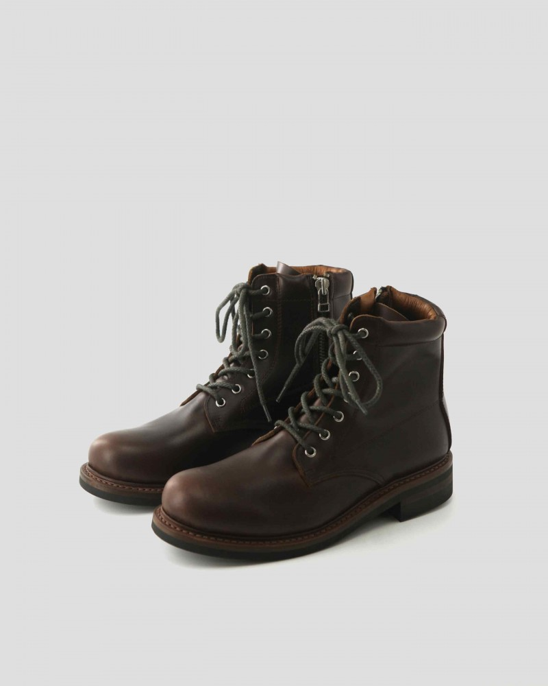 Slow Wear Lion Zip-up Boots・Dark Brown