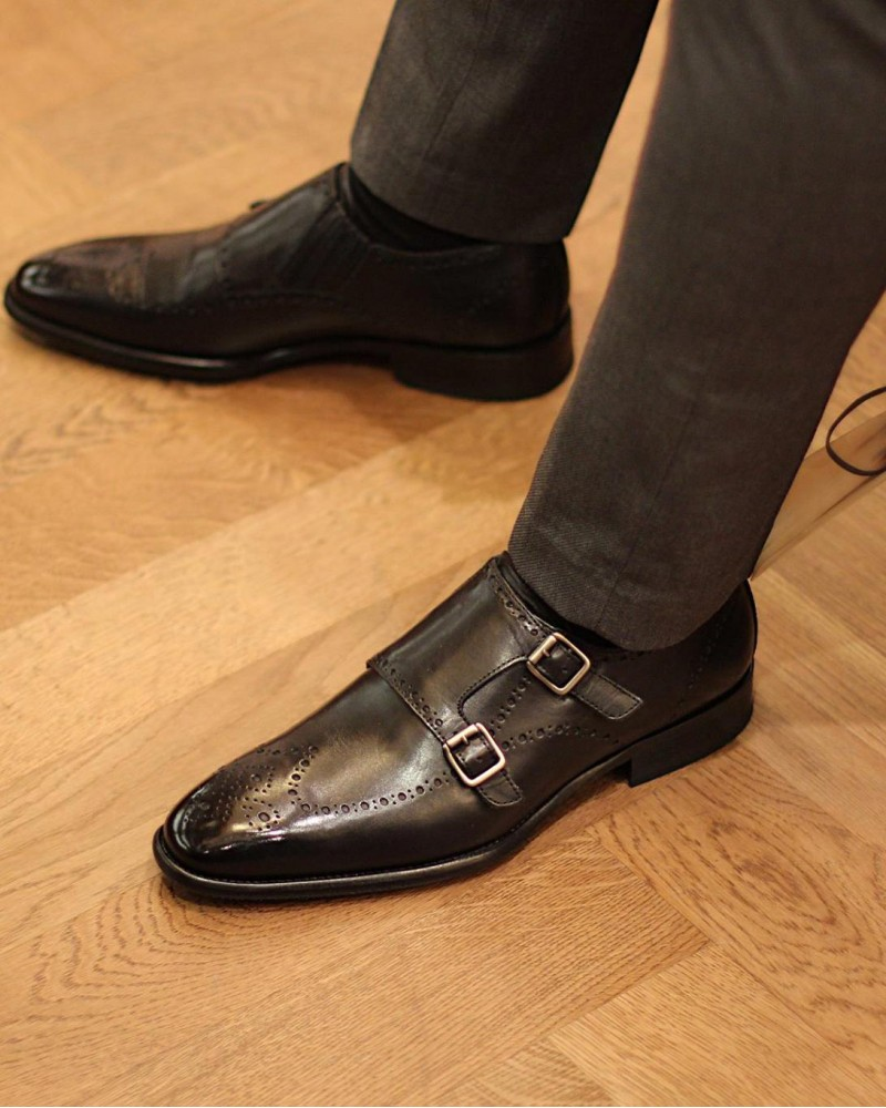 Calzoleria Toscana|H495 Wingtip Double Monk.Black