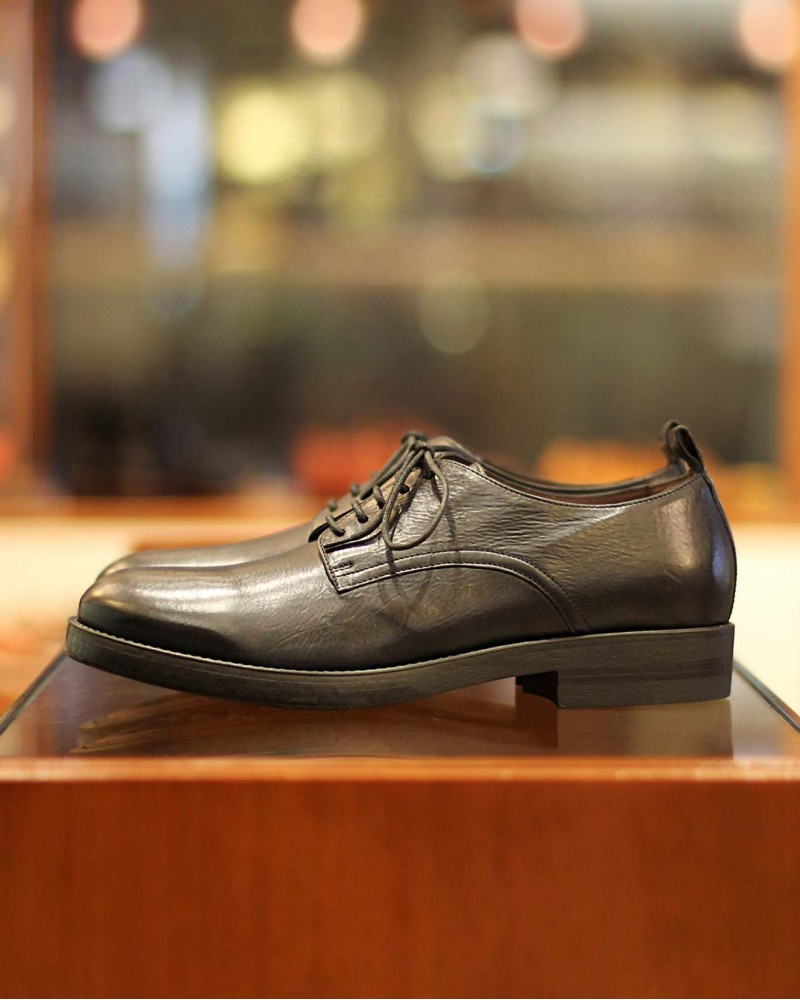 BOEMOS|Washed Leather Derby Shoes・Black