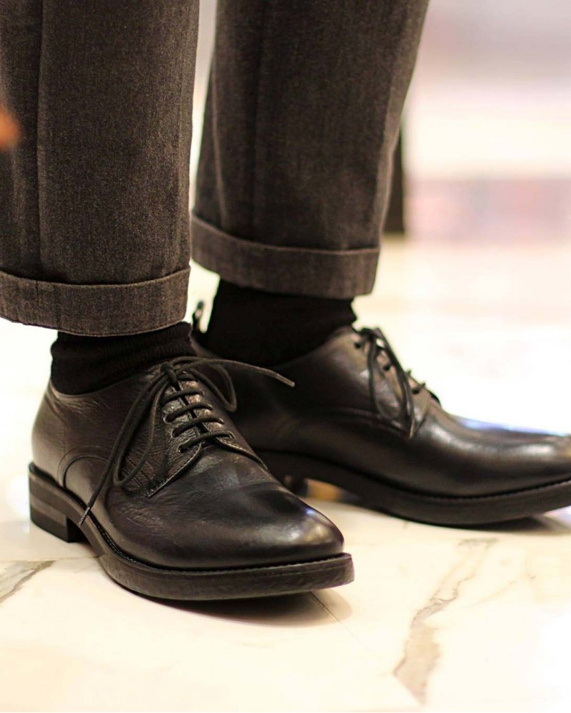 Boemos Washed Leather Derby Shoes・Black