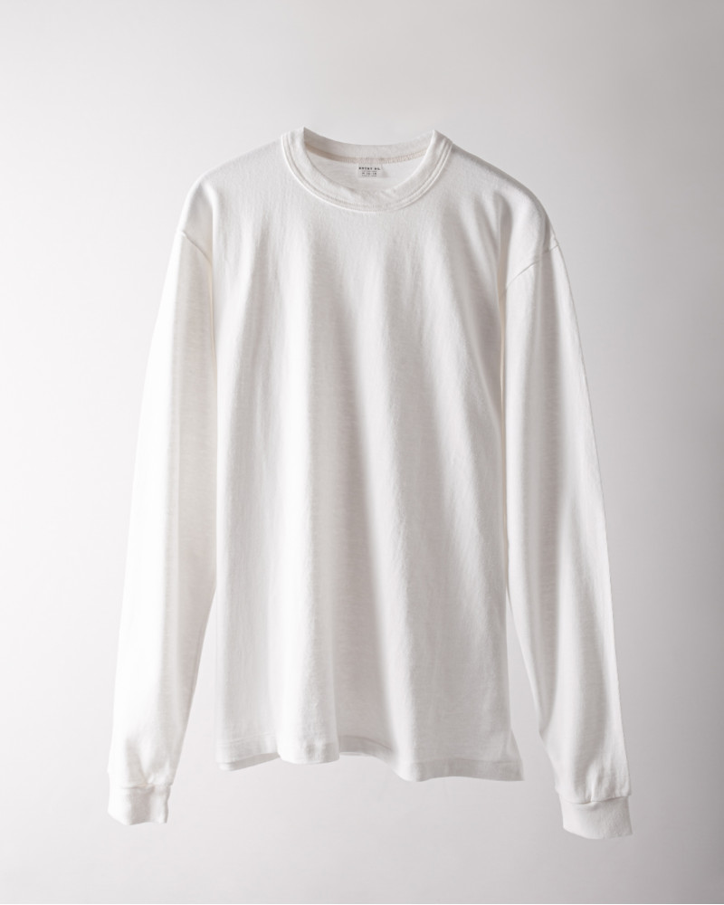 "ENTRY SG|""Excellent Weave Plus"" Long Sleeve Tee・Pure White"