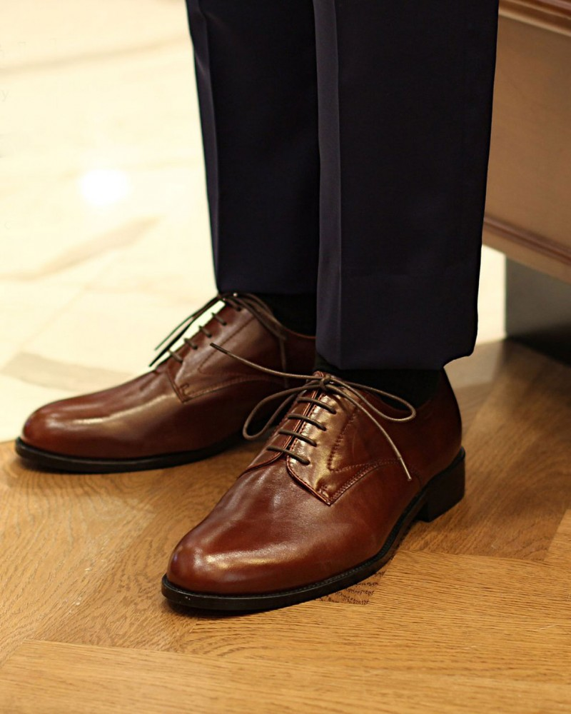 HOAX|Northern Sole Plain Toe Derby・Brown