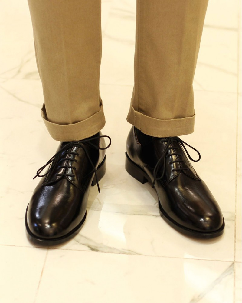 HOAX|Northen Sole Plain Toe Derby・Black