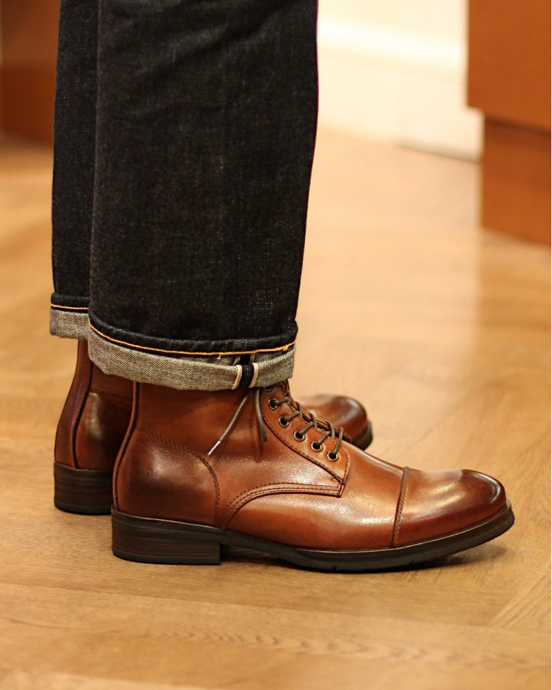 RAD by RAUDi|61201 Side Zip Captoe Boots.Brown
