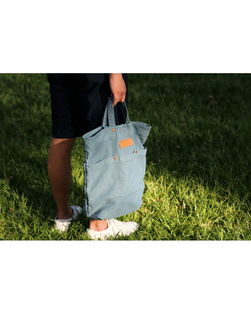 Reactive Dyed Garden Tote - Light Blue
