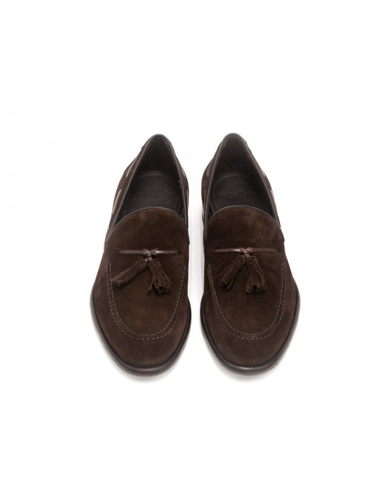 Calzoleria Toscana|3125 Tassel Loafer・Dark Brown suede