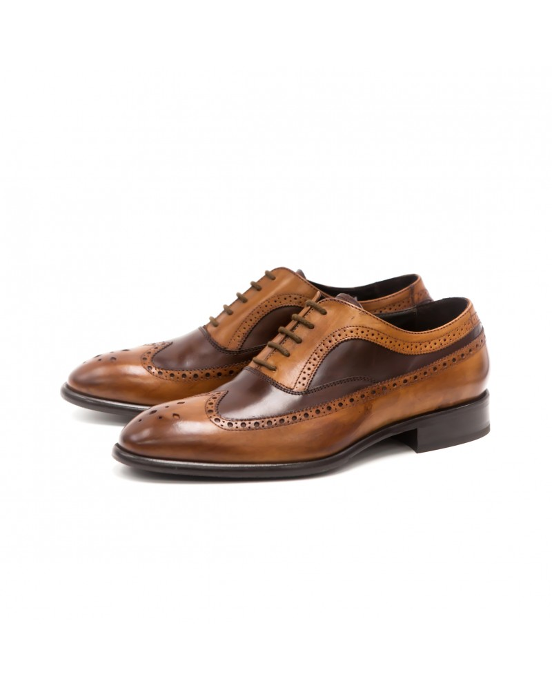 Calzoleria Toscana|H244 Two Tone Wingtip Oxford・Wood / Espresso