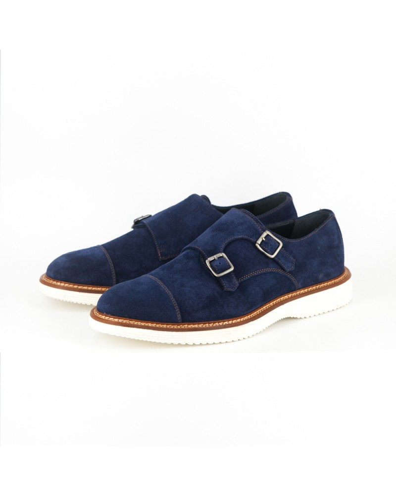 Calzoleria Toscana Suede Double Monk Strap Shoes - Disk Blue
