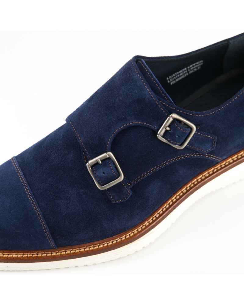 Calzoleria Toscana|A276 Suede Double Monk Strap Shoes・Disk Blue