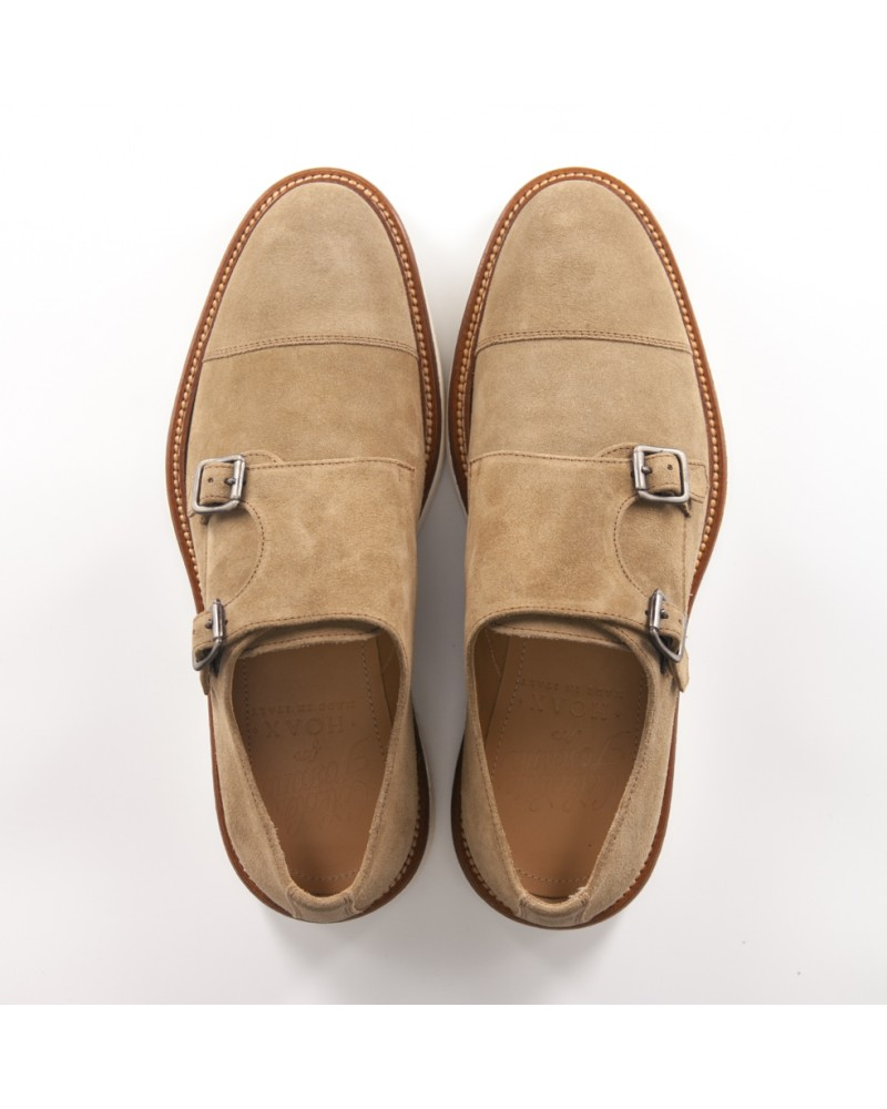 Calzoleria Toscana Suede Double Monk Strap Shoes - Rope