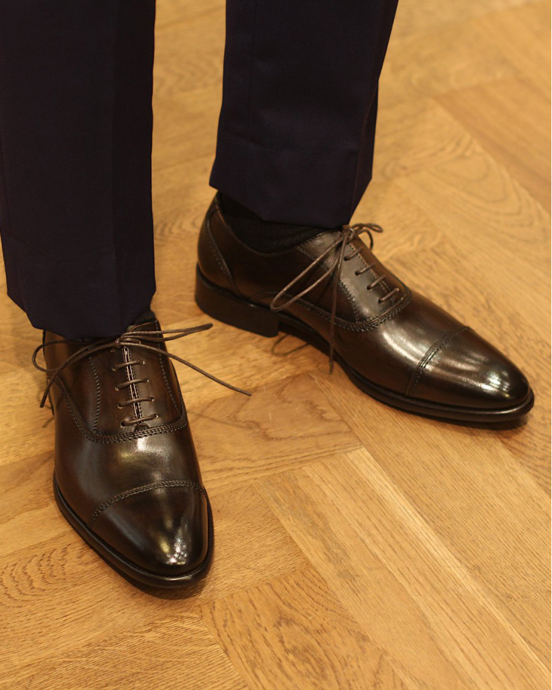 Calzoleria Toscana|2385 Patina Captoe Oxford・Dark Brown