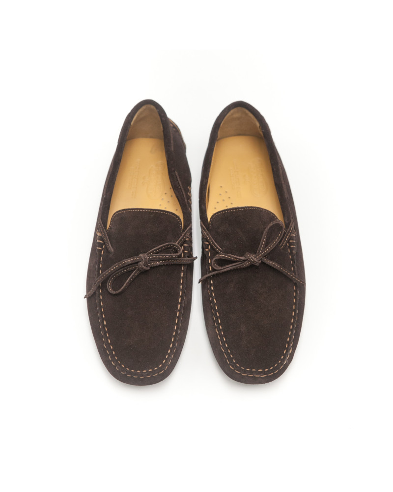 Calzoleria Toscana|3244 Suede Driving Shoes・Chocolate