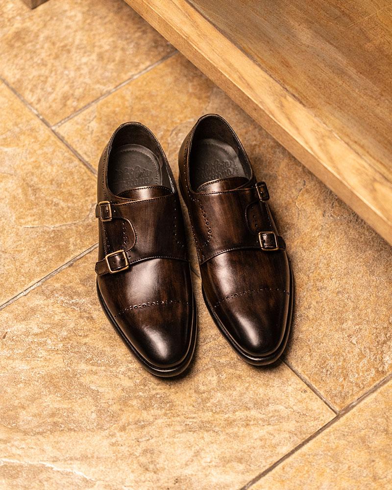Calzoleria Toscana|A274 Double Monk Strap Shoes・Dark Brown Patina