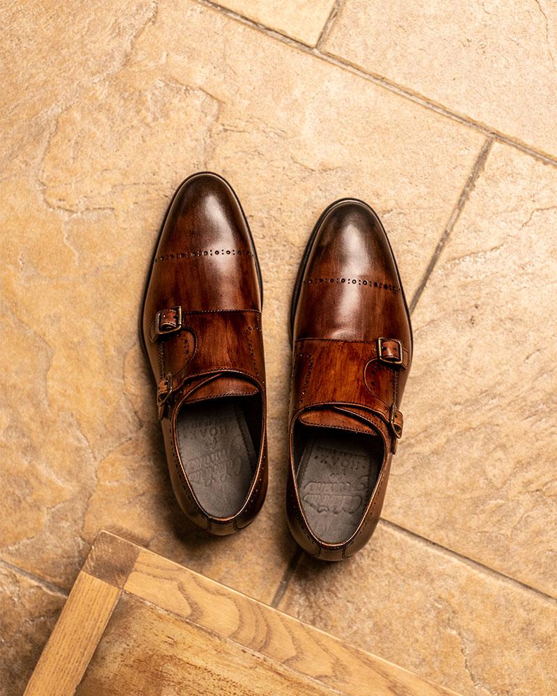Calzoleria Toscana|A274 Double Monk Strap Shoes・Mahogany Patina
