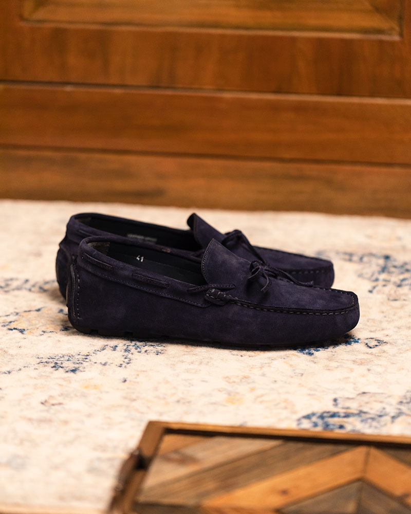 Calzoleria Toscana|3244 Suede Driving Shoes・Disk Blue