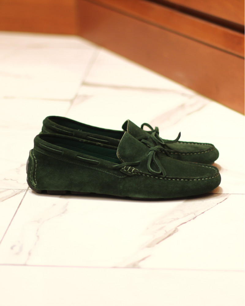 Calzoleria Toscana|3244 Suede Driving Shoes・Emerald