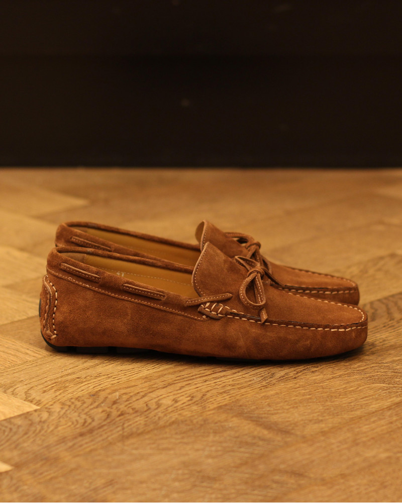 Calzoleria Toscana|3244 Suede Driving Shoes・Brick