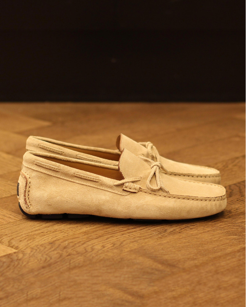 Calzoleria Toscana|3244 Suede Driving Shoes・Cream