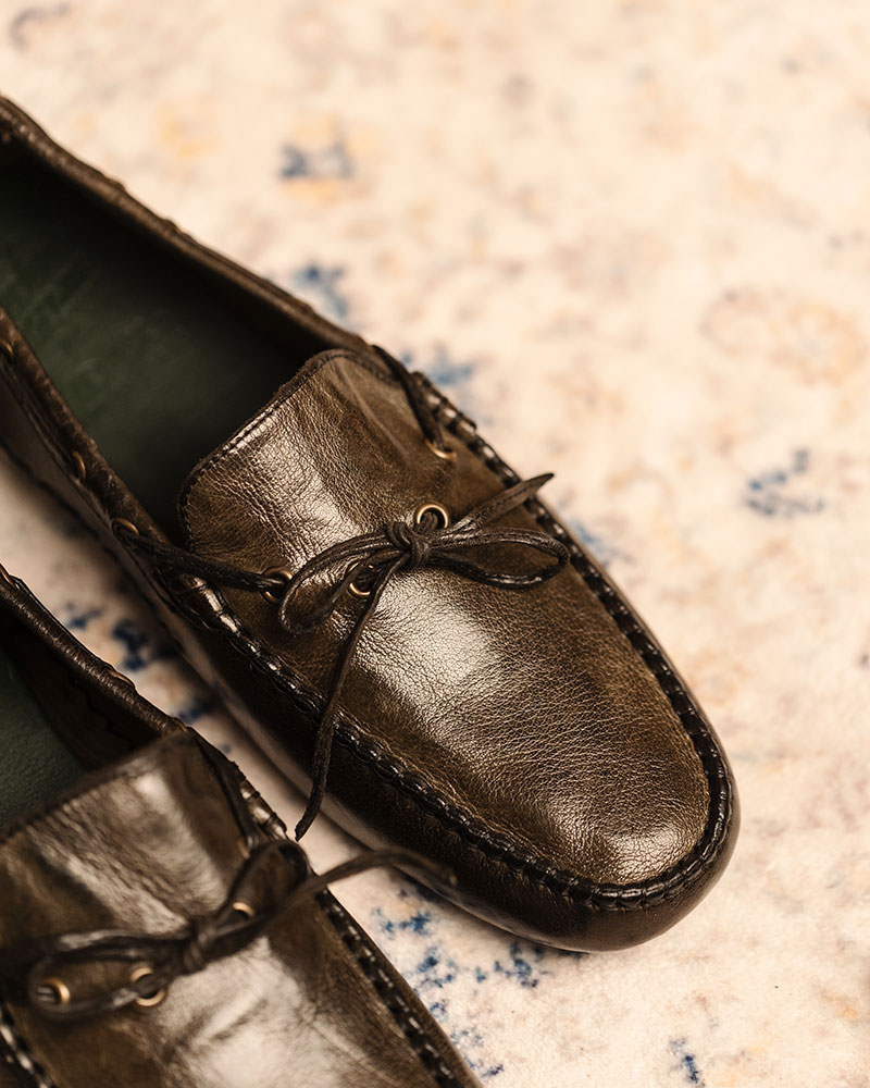 Calzoleria Toscana|4535 Dip Dyed Driving Shoes・Forest Green