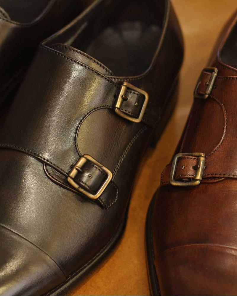Calzoleria Toscana 5667 Double Monk Strap Shoes・Dark Brown Patina