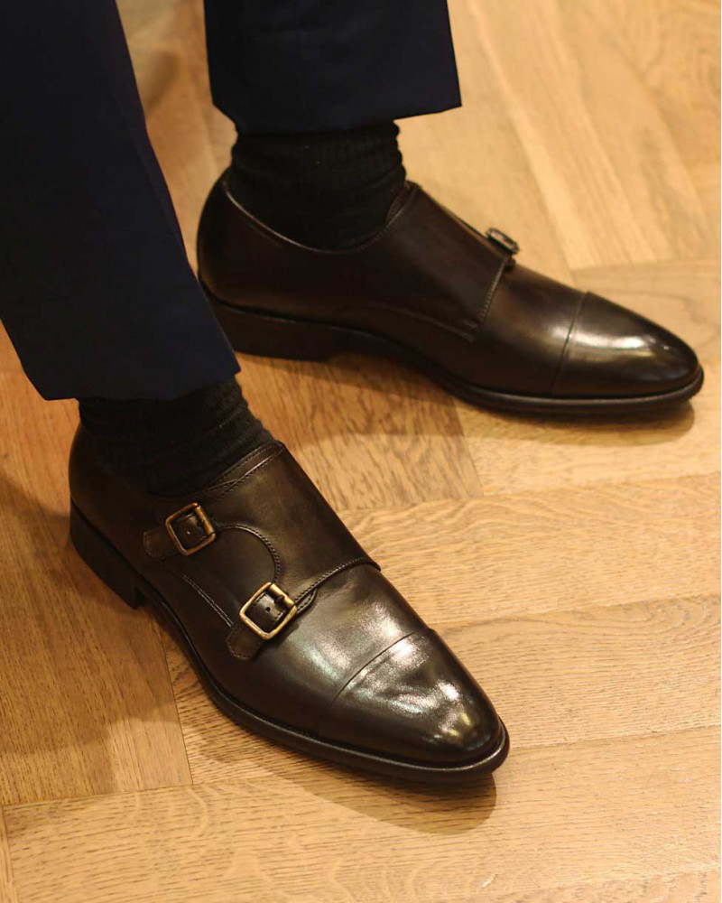 Calzoleria Toscana|5667 Double Monk Strap Shoes・Dark Brown Patina