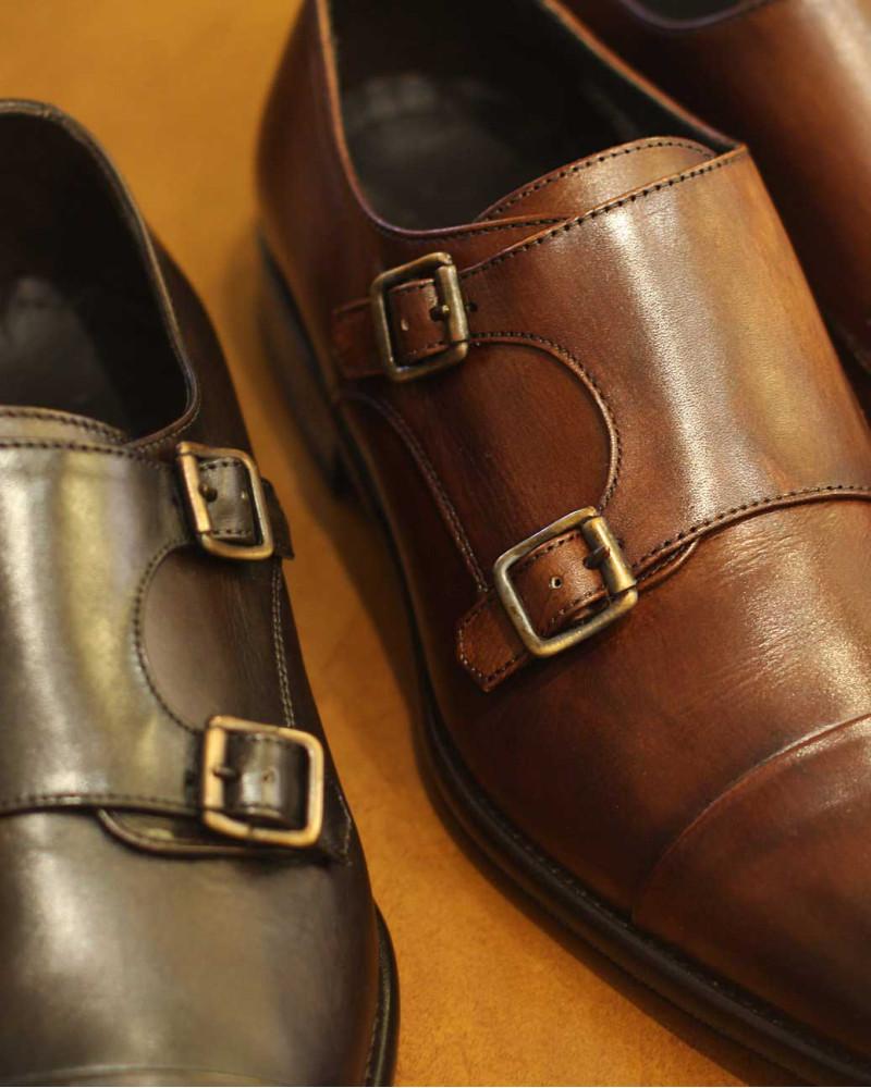Calzoleria Toscana|5667 Double Monk Strap Shoes・Mahogany Patina