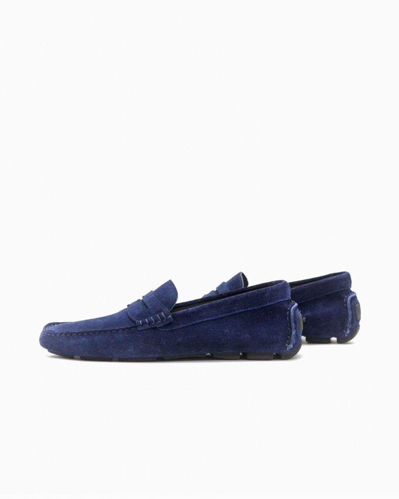 Calzoleria Toscana|8672 Penny Driving Shoes・Blue Suede