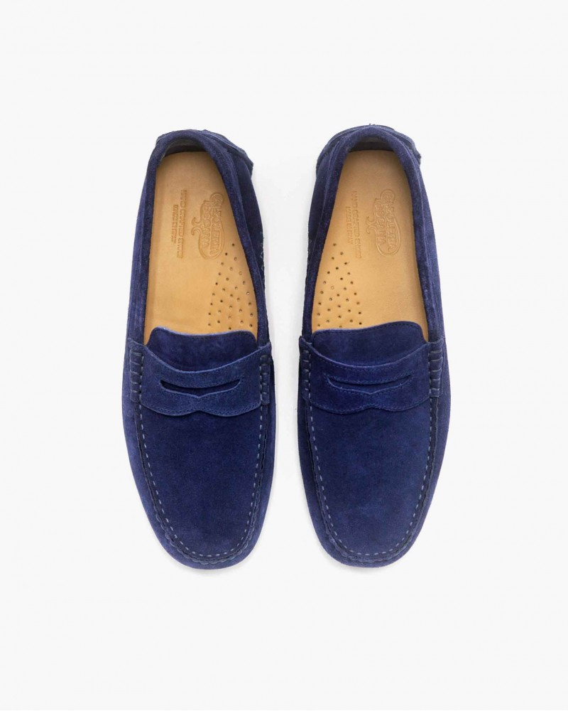 Calzoleria Toscana Penny Driving Shoes・Blue Suede