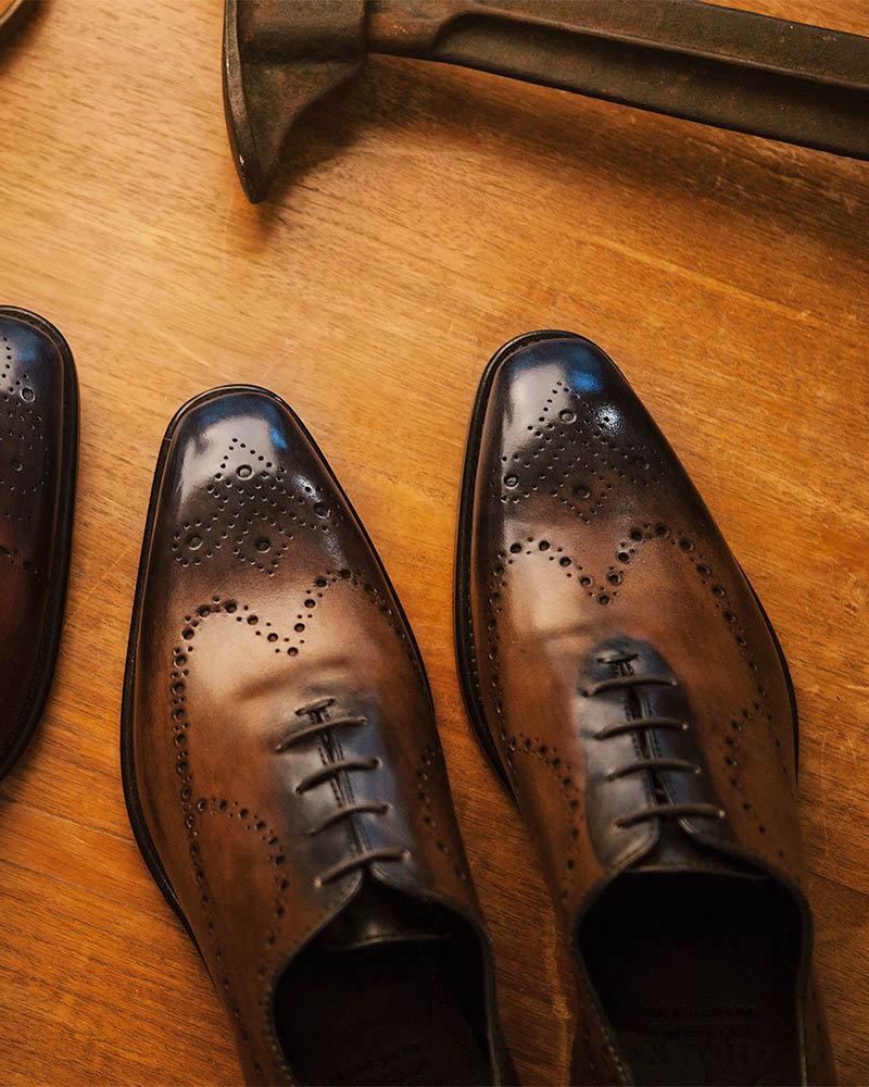 Calzoleria Toscana for HOAX 10TH|8712 Two-tone Whole Cut Longwing Brogue・Patina Dark/ Blue