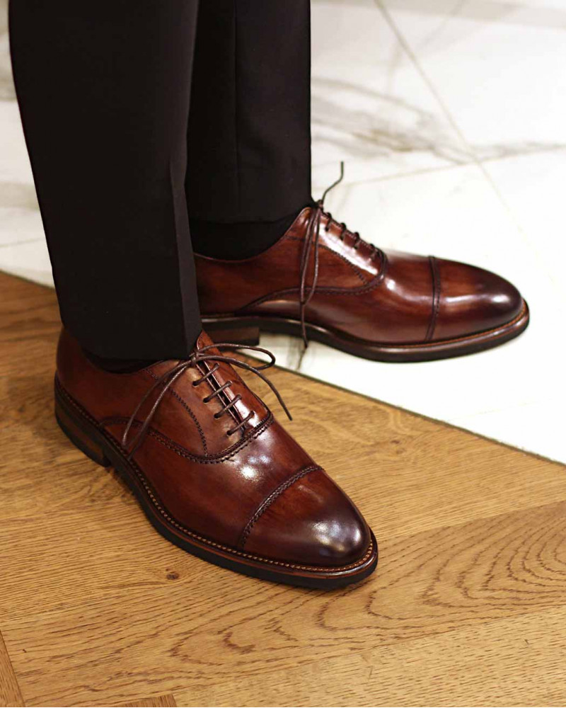 Calzoleria Toscana|H144 Patina Captoe Oxford・Wood