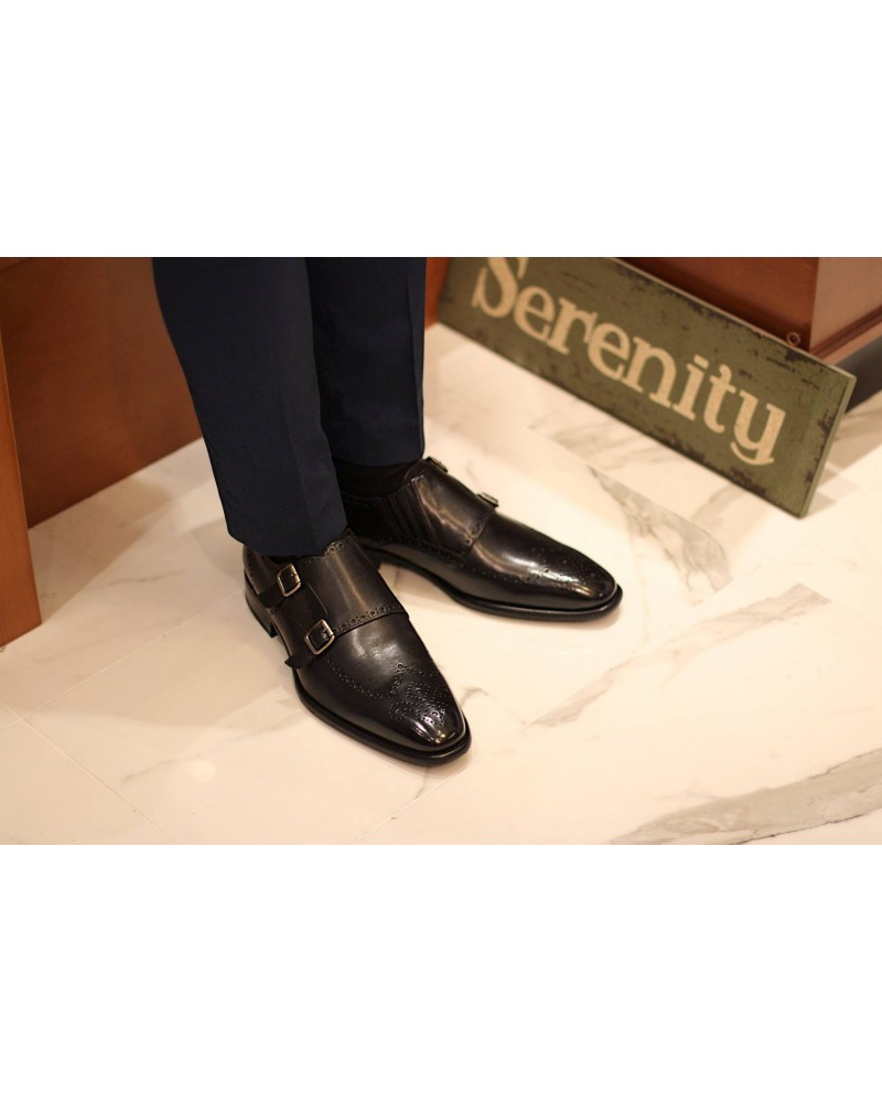Calzoleria Toscana Wingtip Double Monk.Black