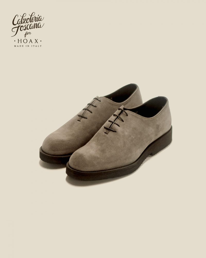 Calzoleria Toscana|Q758 Whole Cut Wedge・Grey Suede