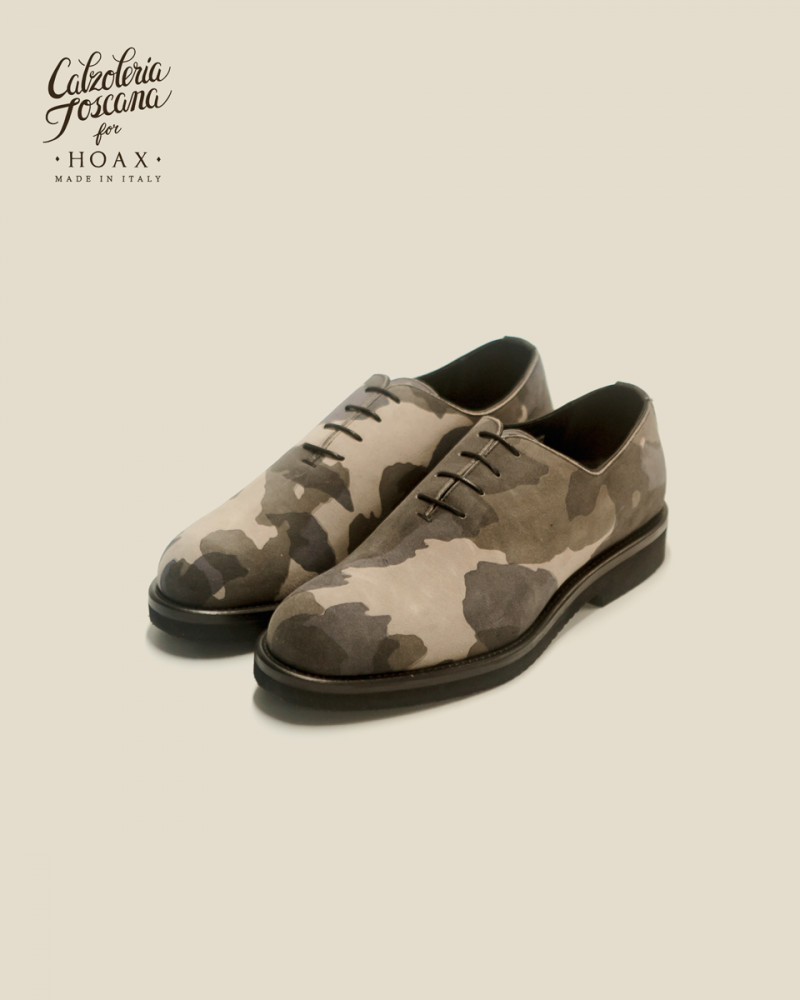 Calzoleria Toscana|Q758 Whole Cut Wedge・Camo Grey Suede