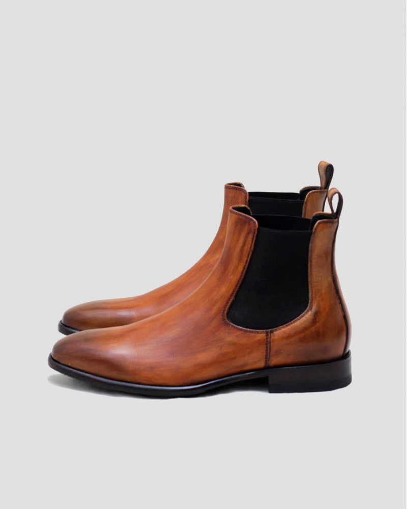 Calzoleria Toscana H233 Patina Chelsea Boots.Chestnut