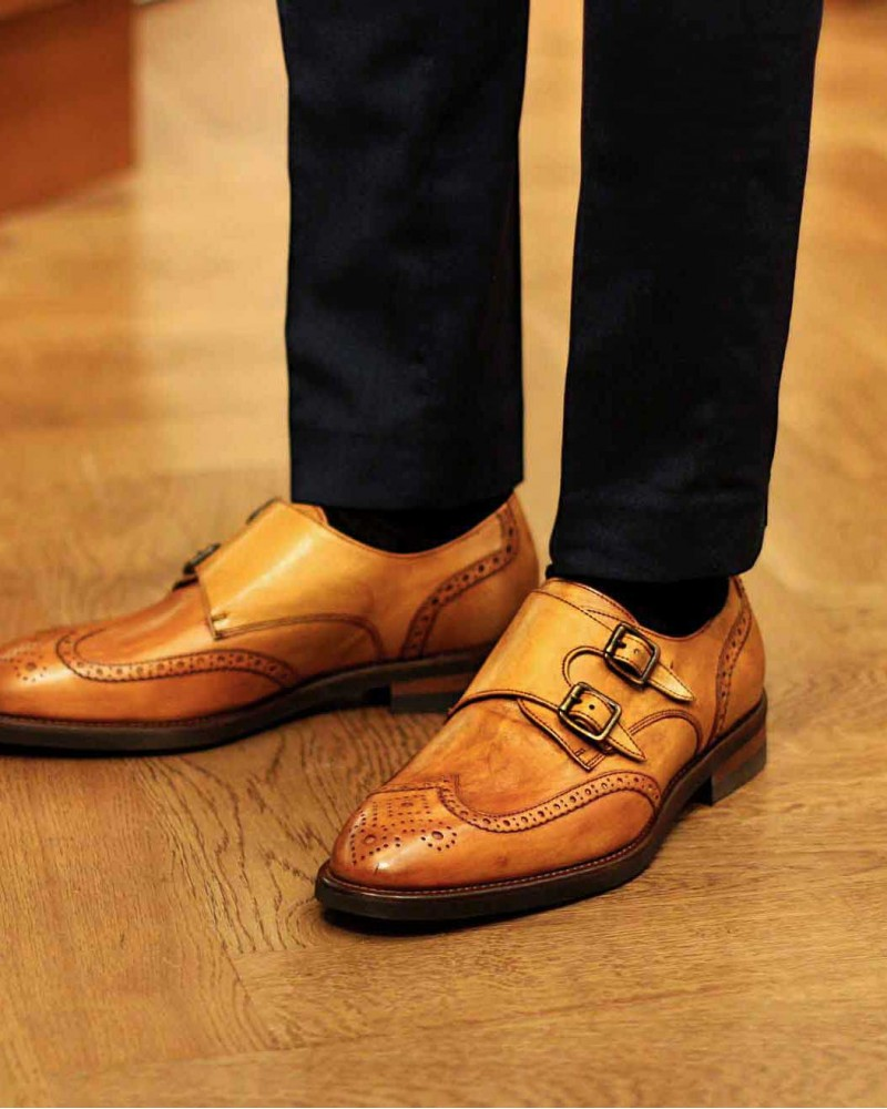 Calzoleria Toscana Wingtip Double Monk・Tan