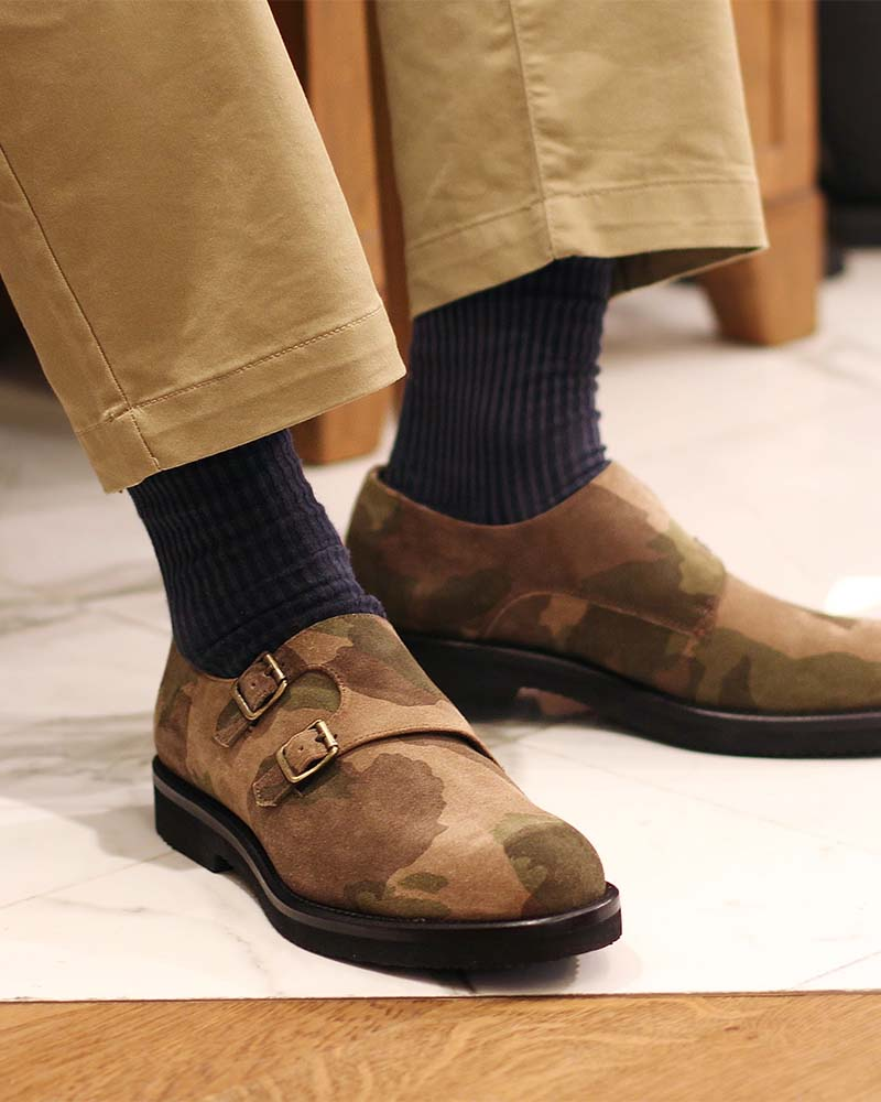 Calzoleria Toscana|Q757 Double Monk Straps Wedge・Camouflage Suede