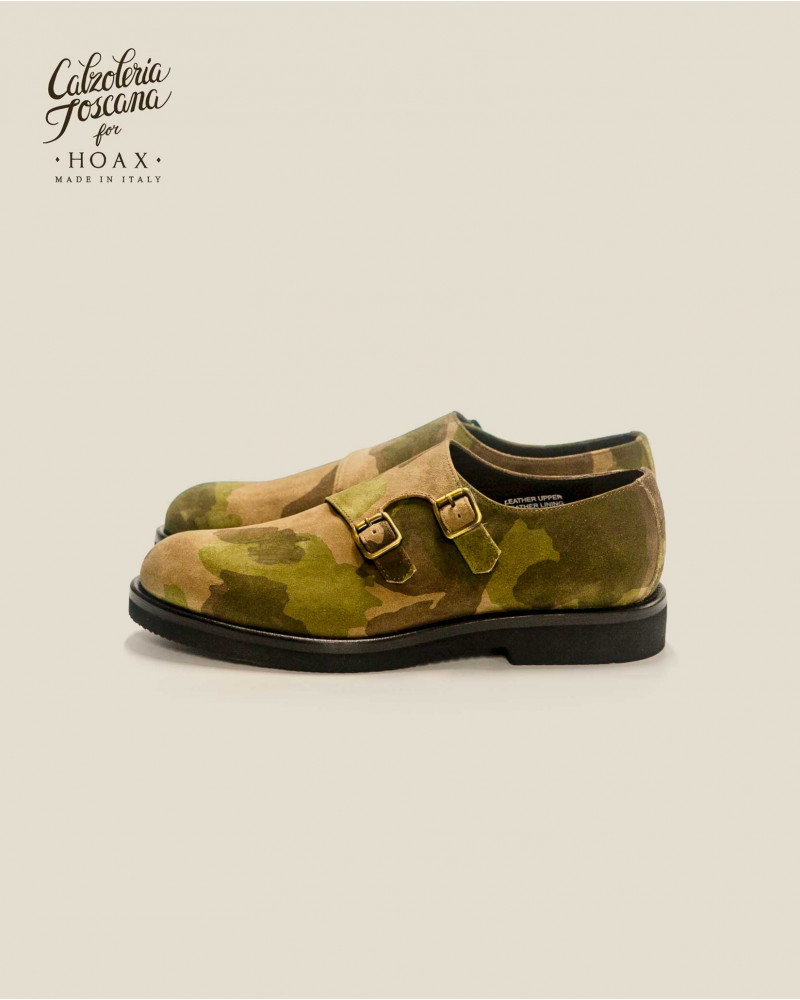 Calzoleria Toscana|Q757 Double Monk Straps・Camouflage Suede